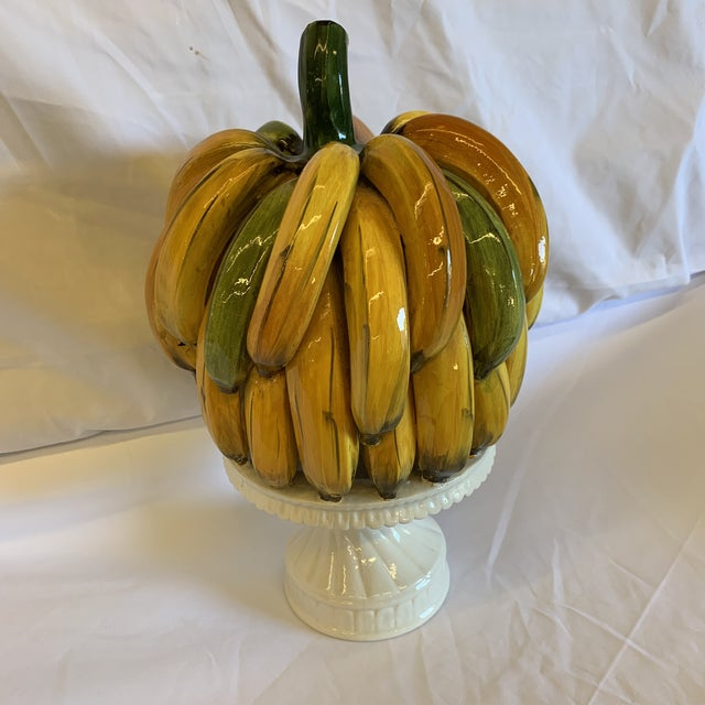 Hollywood Regency Italian Ceramic Banana Bunch Compote For Sale - Image 3 of 10