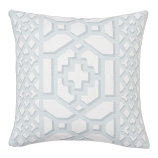 Schumacher Zanzibar Trellis Matte Pillow in Winter Mint For Sale