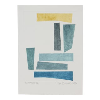 """Rob Delamater """"Contrapposto Iv"""" Abstract Monotype Print in Blue and Yellow, 2016 2016 For Sale"""