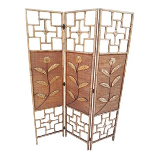 1990's Chippendale Bamboo 3 Panel Room Divider For Sale