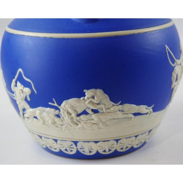 White 1900s Antique Spode Hunting Scene in Royal Blue Jasperware Pitcher For Sale - Image 8 of 12