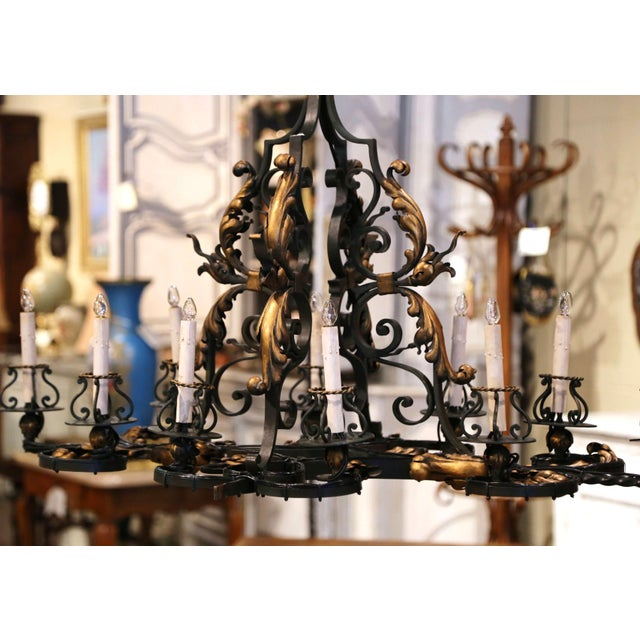 Gold Early 20th Century French Painted & Gilt Iron Flat Bottom Ten-Light Chandelier For Sale - Image 8 of 13