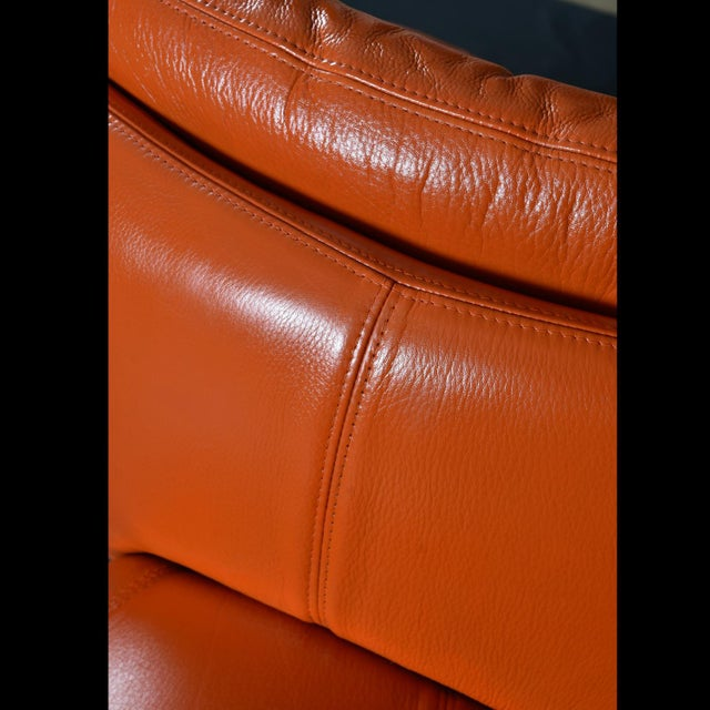 Nineteen-Laties Pedestal Base Orange Leather Swivel Pod Chairs by Jaymar For Sale - Image 10 of 13