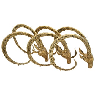 Set of Three Brass Ibex Figures for Table Base For Sale