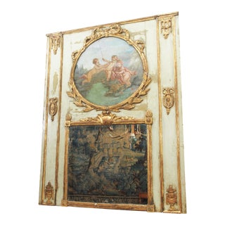 Period Louis XVI Polychrome Trumeau Mirror For Sale