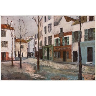 """1950s Maurice Utrillo """"Place Du Tertre"""", First Edition Cottage Style Lithograph For Sale"""