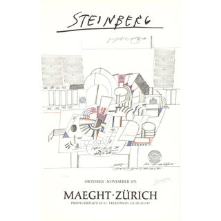 Saul Steinberg-Maeght-Zurich-1971 Lithograph-SIGNED For Sale