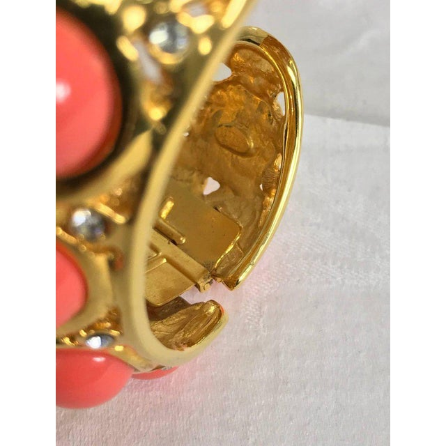 Kenneth J Lane Faux Coral Turquoise Rhinestone Gold Clamp Cuffs Bracelet For Sale In West Palm - Image 6 of 8