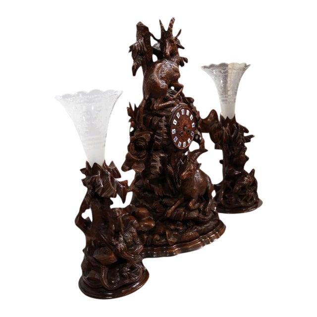 Carved Walnut Black Forest Clock & Matching Vases - Set of 3 For Sale
