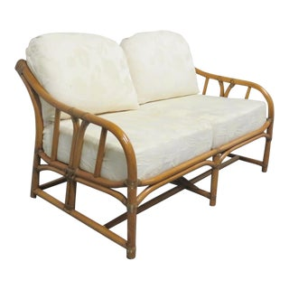 Mid Century Rattan Loveseat For Sale
