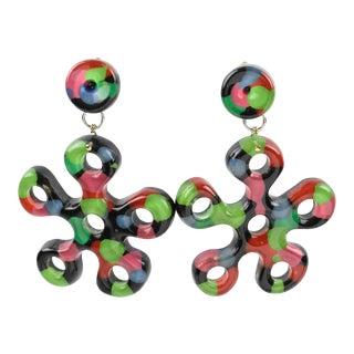 Oversized Dangling Multicolor Flower Power Lucite Clip-On Earrings For Sale