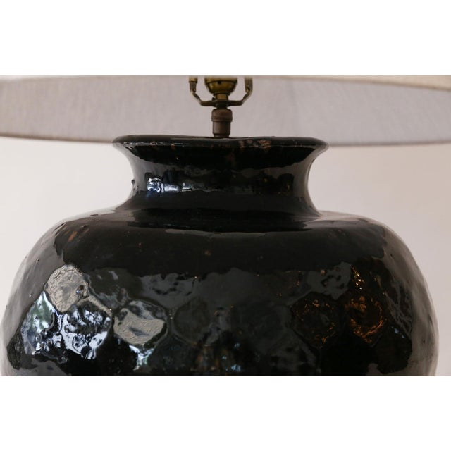 Modern Black Glazed Terracotta Table Lamp For Sale - Image 3 of 10