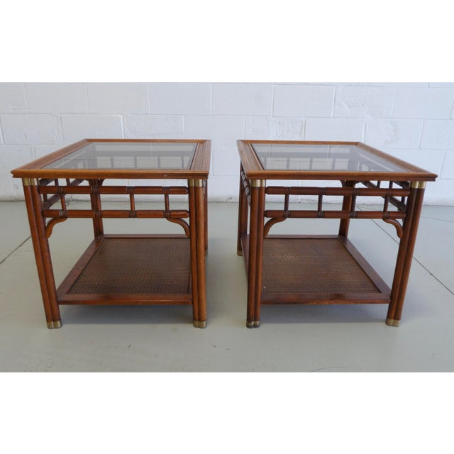 Gold Vintage Faux Bamboo & Cane Regency Side Tables - a Pair For Sale - Image 8 of 12