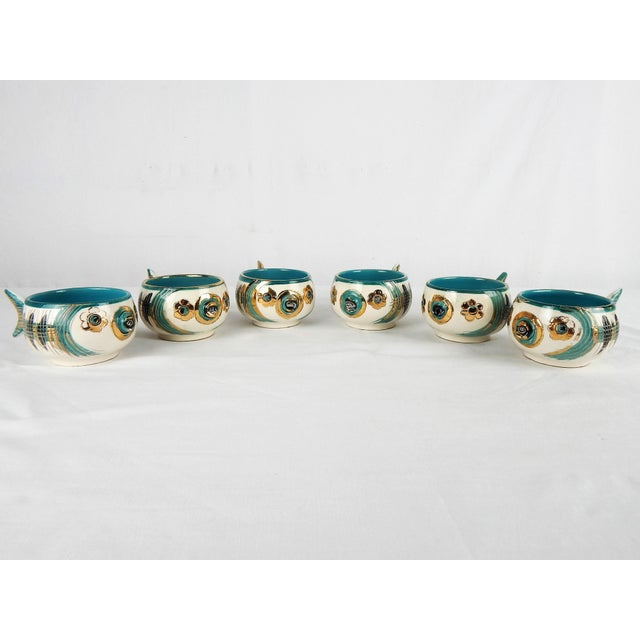 Mid-Century Modern Rare Bitossi Fish Cups, S/6 For Sale - Image 3 of 11