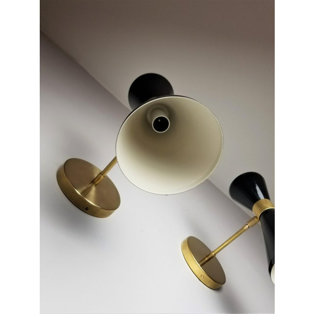 "Not Yet Made - Made To Order Italian Modern Brass & Enamel ""Campana"" Wall Sconce by Blueprint Lighting - A Pair For Sale - Image 5 of 9"