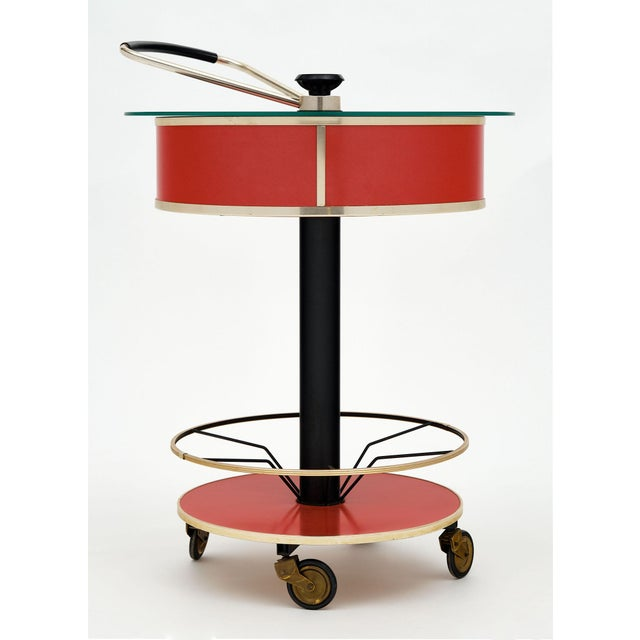 Mid-Century Modern Italian Hydraulic Bar Cart For Sale - Image 3 of 10