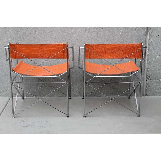 Mid-Century Modern Faux Alligator Orange Chairs- A Pair For Sale - Image 3 of 8