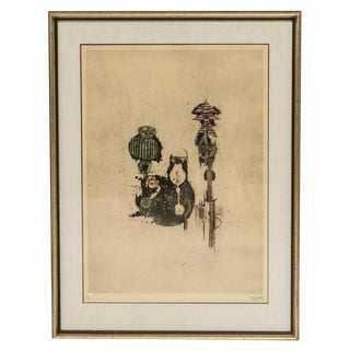 Johnny Friedlaender Framed Aquatint For Sale