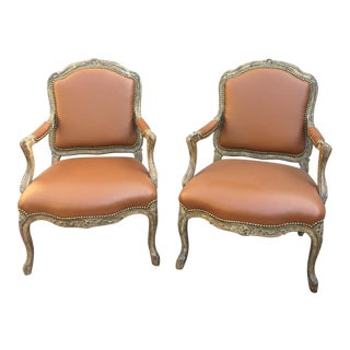 French Traditional Vintage Minton Spidell Chairs - a Pair