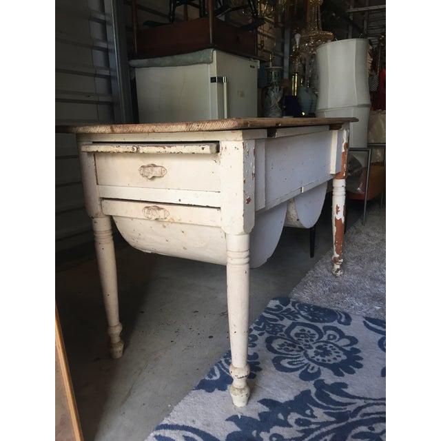 Primitive Antique Baking Cabinet Wood Table For Sale - Image 3 of 7