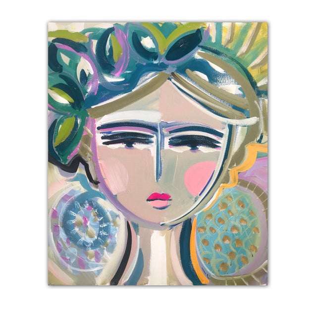 """Abstract Original Portrait Painting by Maren Devine """"Leah"""" For Sale - Image 3 of 4"""