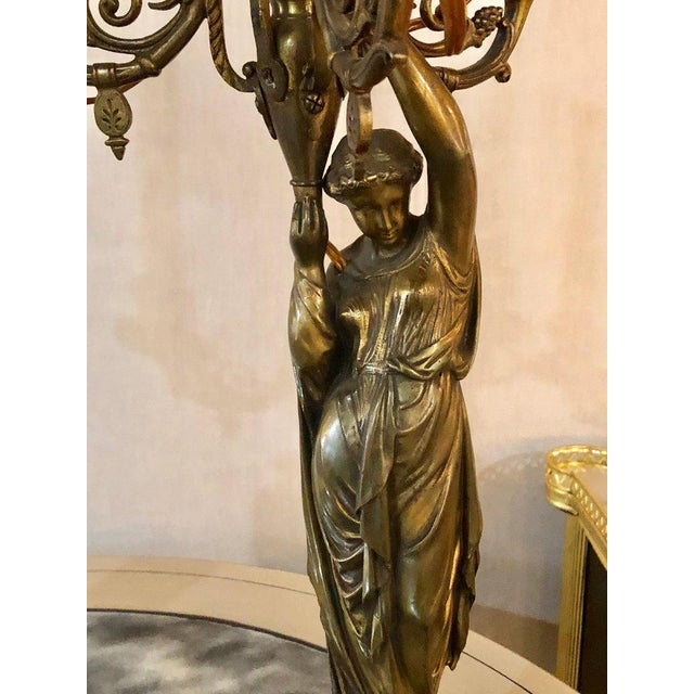 A Pair of 19th Century Neoclassical Style Figural Bronze Candelabras For Sale - Image 4 of 12
