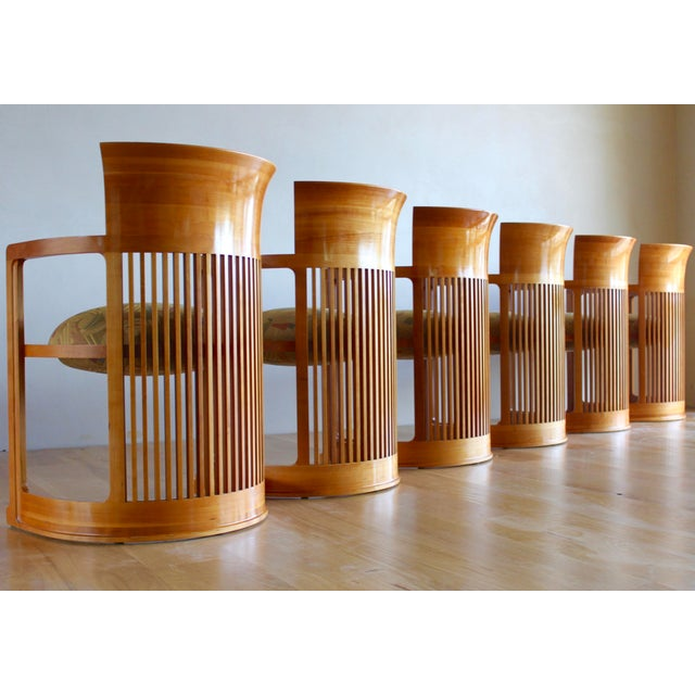 Vintage 1986 Frank Lloyd Wright for Cassina Taliesin 606 Barrel Chairs - Set of 6 For Sale - Image 13 of 13