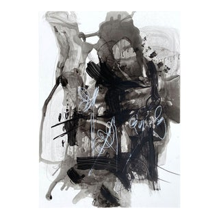 """Contemporary Abstract Acrylic, Ink, Oil Pastel and Graphite on Polypropylene Paper Painting """"Nodus"""" by Adrienn Krahl For Sale"""