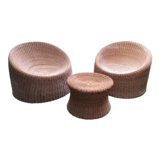 Mid Century Eero Aarnio Wicker Elephant Boot Chairs and Foot Stool - Set of 3 For Sale