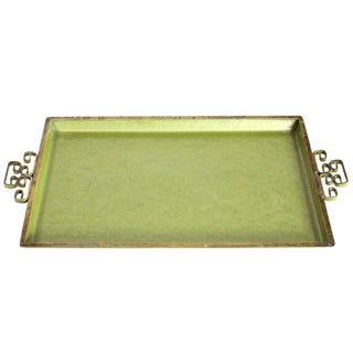 1950's Chinoiserie Mid-Century Avocado Green Rectangular Vanity Tray by Kyes Moire Glaze of California For Sale