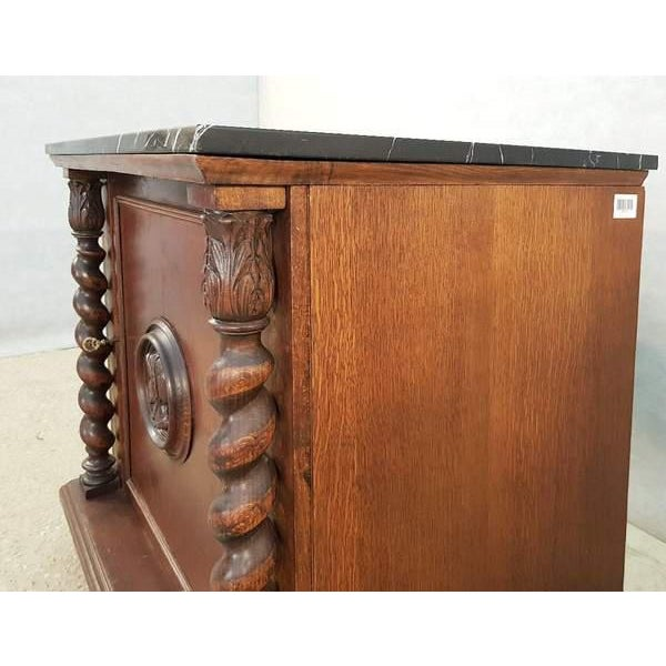 Brown French Louis XIII Style Early 20th C. Confiturier Cabinet Cupboard With Single Door and Marble Top For Sale - Image 8 of 13