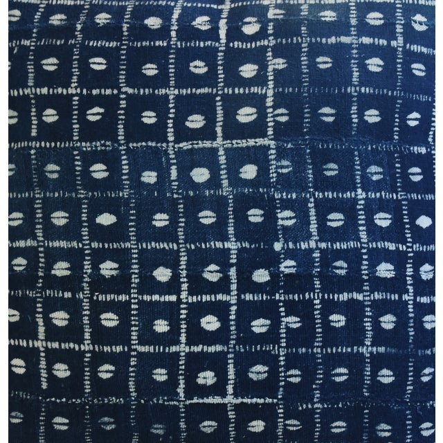 Indigo Blue & White Mali Tribal Feather/Down Pillow - Image 4 of 8