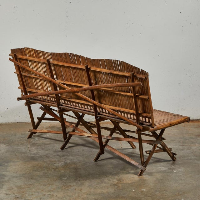 Brown Bamboo Slated Bench For Sale - Image 8 of 9