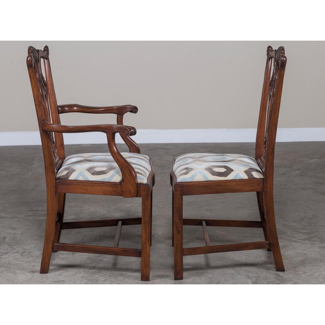 Set Eight George III Chippendale Style Mahogany Dining Chairs, Custom Stain Finish, England - Image 9 of 9