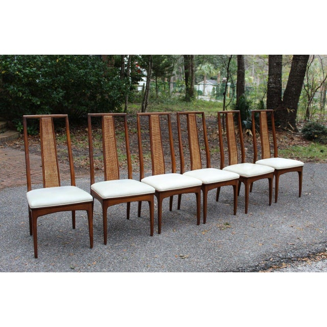 Walnut and Cane Dining Chairs by John Stuart- Set of 6 For Sale - Image 11 of 11