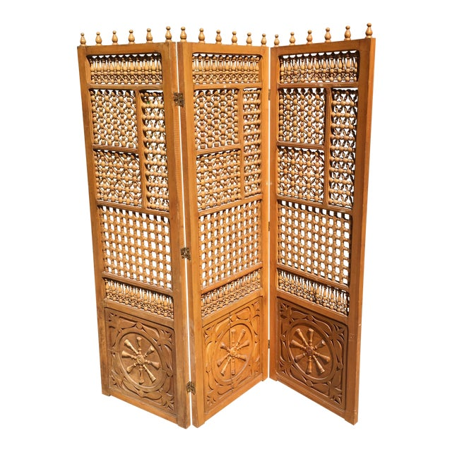 Vintage Carved Wooden Folding Screen For Sale