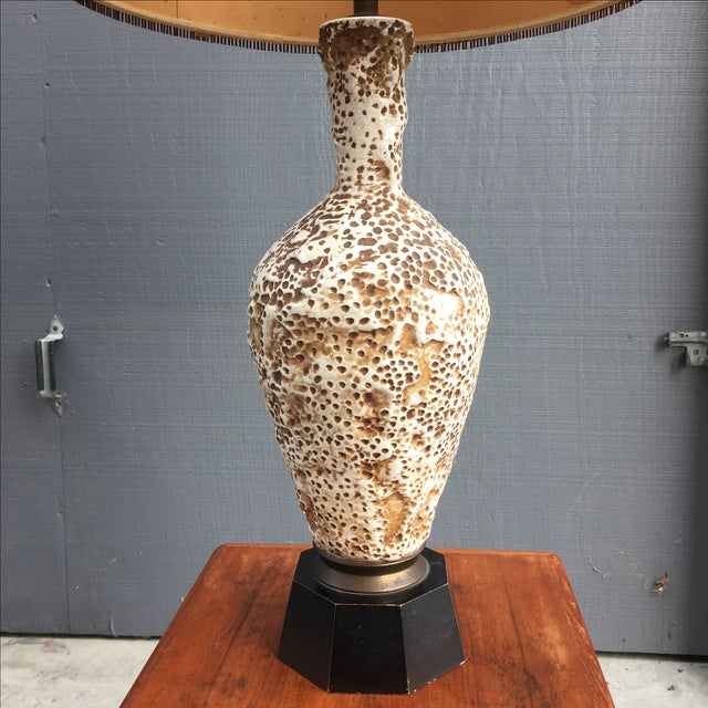 Primitive Ceramic Coral Table Lamp & Maria Kipp Shade For Sale - Image 3 of 5