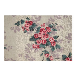 Valance French Fabric Floral 1850 Purple And Pink Rose Design With Hand Made French White Passementerie For Sale