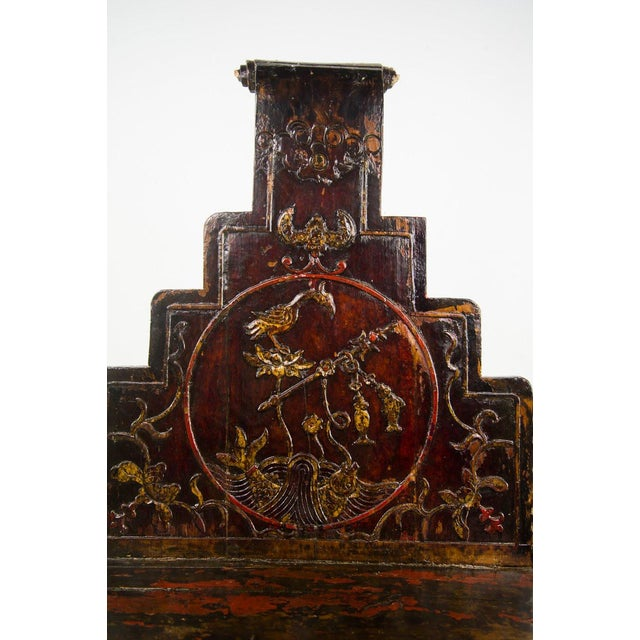 Red Qing Chinese Accent Carved Hall Chairs - a Pair For Sale - Image 8 of 11
