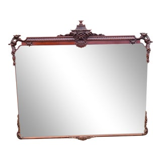 Large Mahogany Chinese Chippendale Style Bedroom Mirror C1950s For Sale