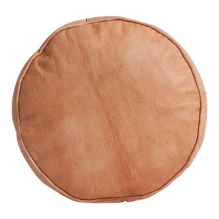 1990s Vintage Moroccan Natural Tan Leather Plain Drum Pouf For Sale