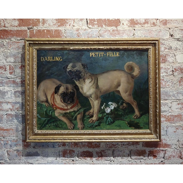 Charles Nogaro - Portrait of Two Pugs-19th Century French Oil Painting For Sale - Image 10 of 10
