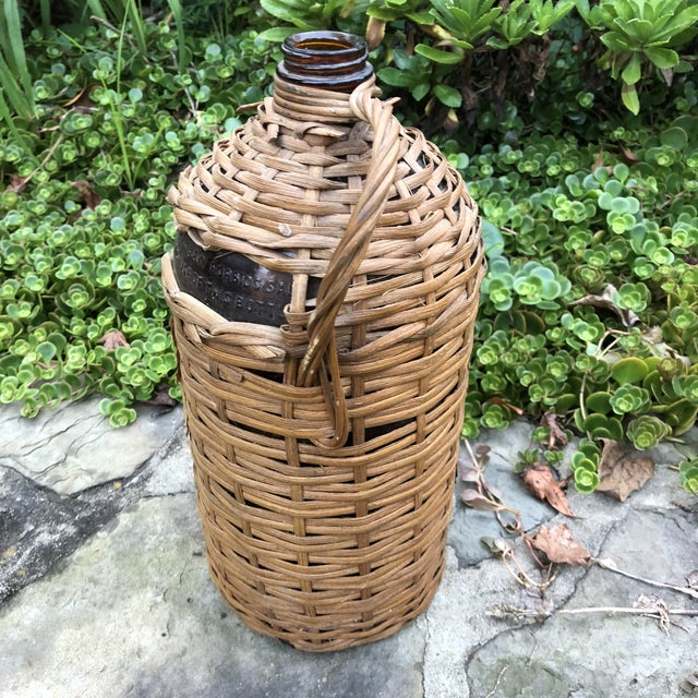 1920s Boho Chic Demijohn Wrapped Rum Jug For Sale In Baltimore - Image 6 of 10