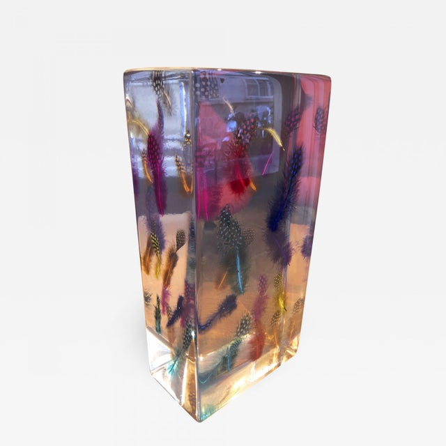 Andre Hayat Awesome Contemporary Multicolor Feather Resine Sculpture For Sale - Image 6 of 6
