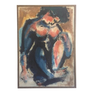 Vintage Abstract Nude Figurative Painting
