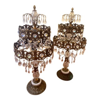 19th Century Large Gilt Bronze and Crystal Girandole Table Lamps - a Pair For Sale