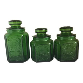 Vintage Emerald Green Glass Canisters - Set of 3 For Sale