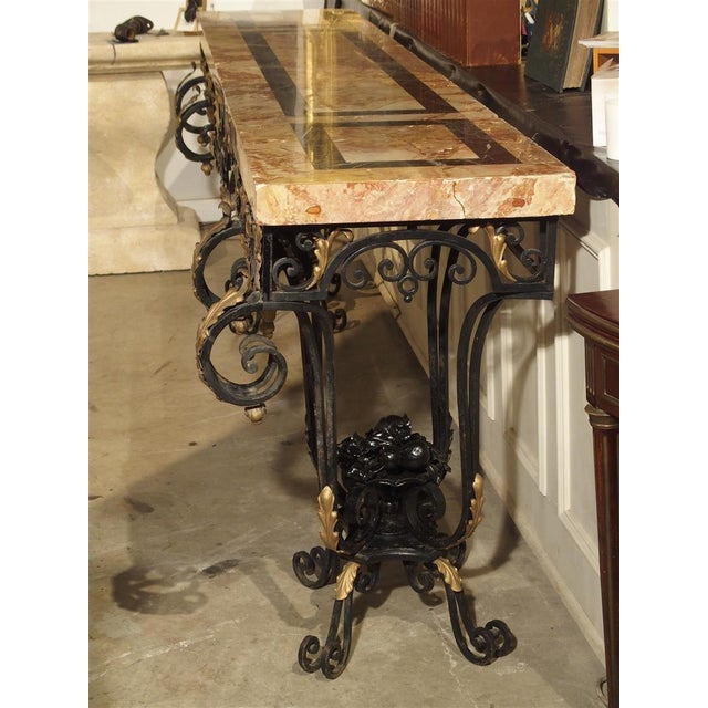 1920's French Forged Iron and Marble Console Table For Sale - Image 11 of 13