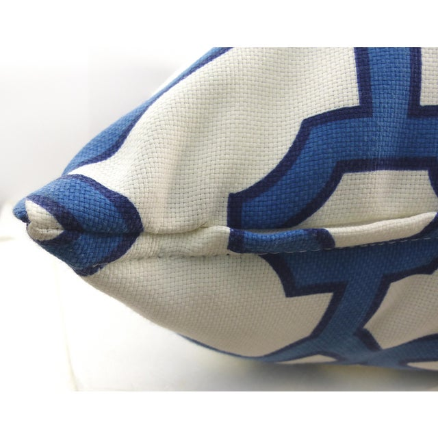 Modern Blue & White Cotton Latice Style Pillow For Sale - Image 3 of 5