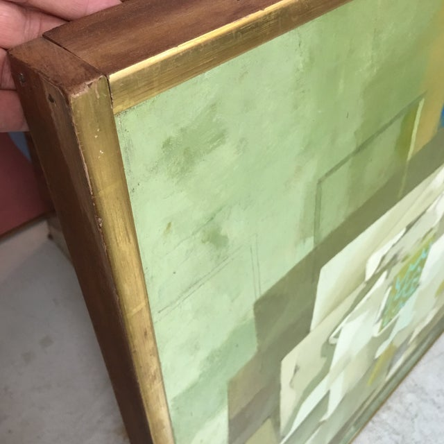 Mid-Century Green & Tan Cubist Oil Painting - Image 8 of 9
